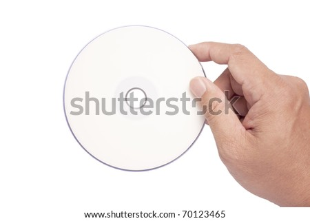 isolated hand holding white blank CD DVD - stock photo