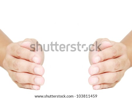 isolated hand in protecting position - stock photo