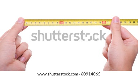isolated hand measuring by tape measure