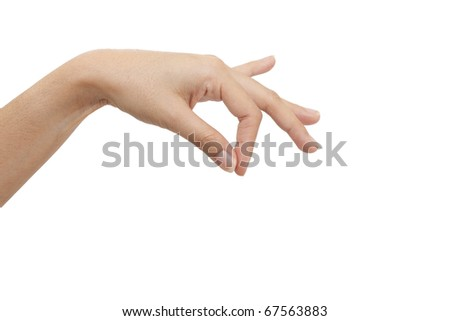 Isolated:  hand on white background