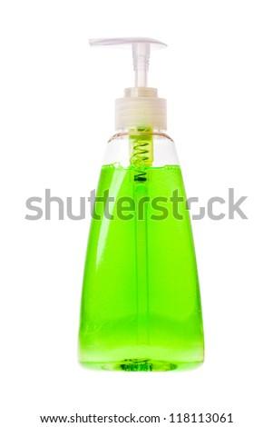 Isolated hand sanitizer soap dispenser on white background - stock photo