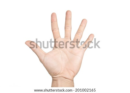 isolated hand shows the number five