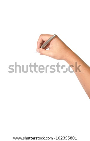 isolated hand using pen writing - stock photo