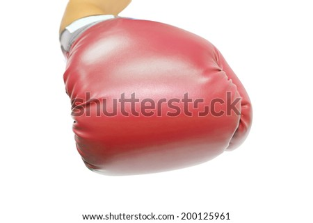 isolated hand with boxing glove on white background - stock photo