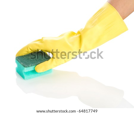 isolated hand with sponge