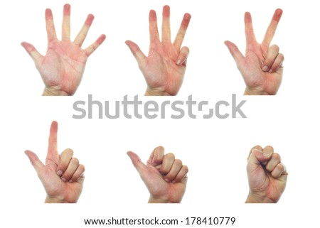 isolated hands count over white