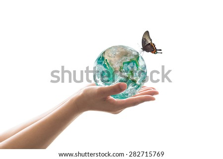Isolated hands holding green planet with butterfly drinking water from the globe on white background : World environment and hydrography concept: Elements of this image furnished by NASA    - stock photo