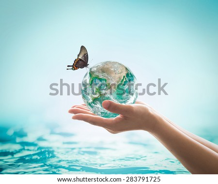Isolated hands holding green planet with butterfly drinking water on the globe on turquoise blue water background : World ocean and hydrography day concept: Elements of this image furnished by NASA  - stock photo