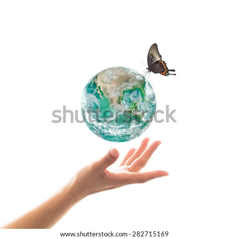 Isolated hands holding healthy clean green planet with butterfly drinking water from the globe on white background : World environment and hydrography concept: Elements of this image furnished by NASA - stock photo
