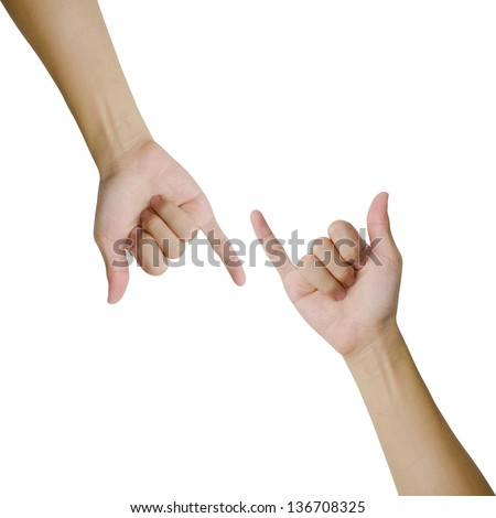 Isolated hands making promise as a friendship concept - stock photo