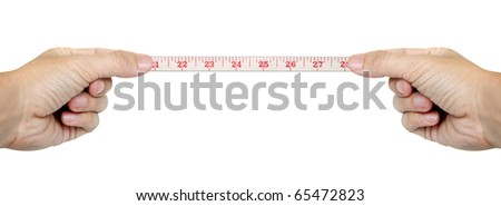 isolated hands measuring by tape measure isolated - stock photo