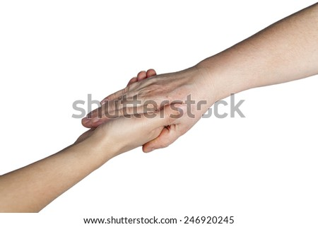 isolated hands of assisted help - stock photo