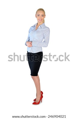 Isolated happy business woman leaning - stock photo