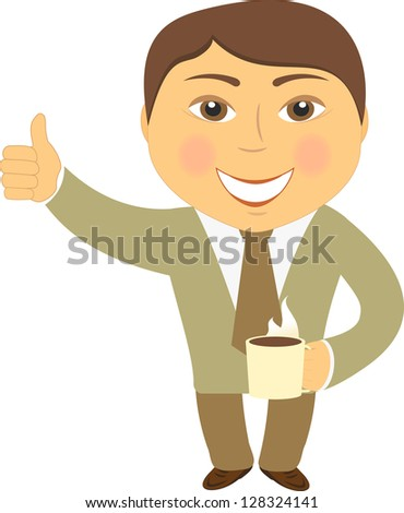 isolated happy man with coffee cup and showing thumb up - stock photo
