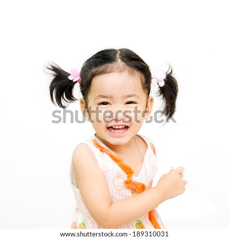 Isolated, happy two asian girls on the white background