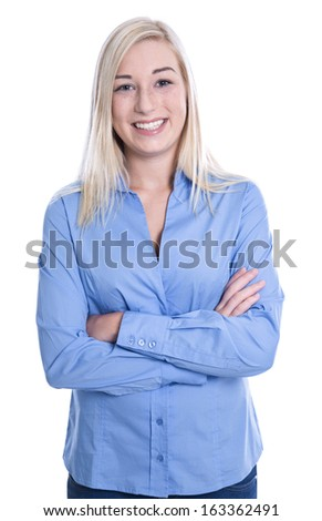 Isolated happy young blonde woman in blue blouse .