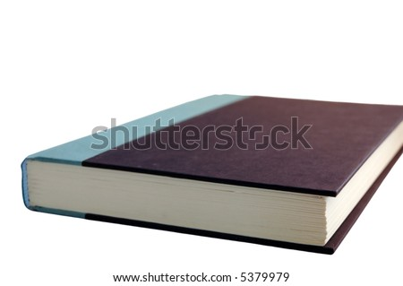 Isolated hard-cover book on white background - stock photo