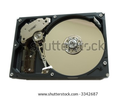 Isolated hard drive without top cover (over white)
