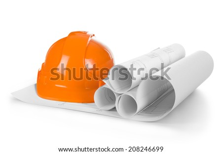 isolated hard hat with blueprints - stock photo