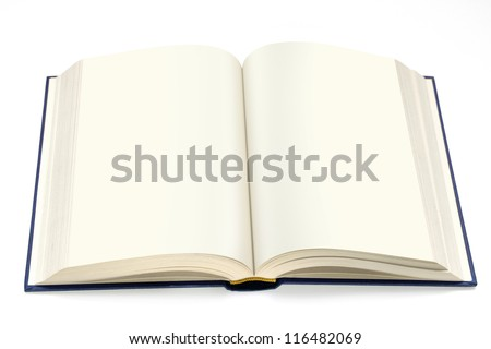 isolated hardcover book  open with white pages - stock photo
