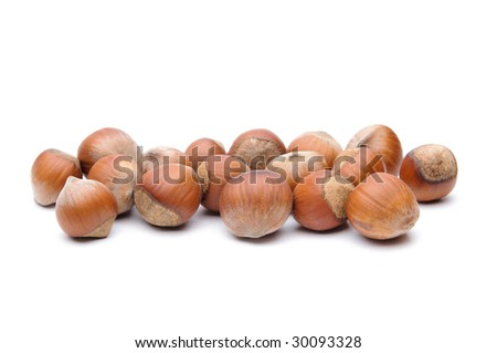 Isolated  hazelnuts - stock photo
