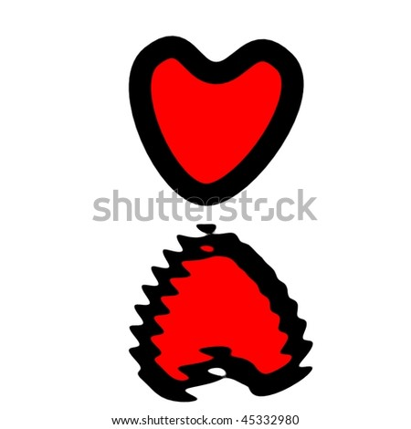 isolated heart and reflection - stock photo