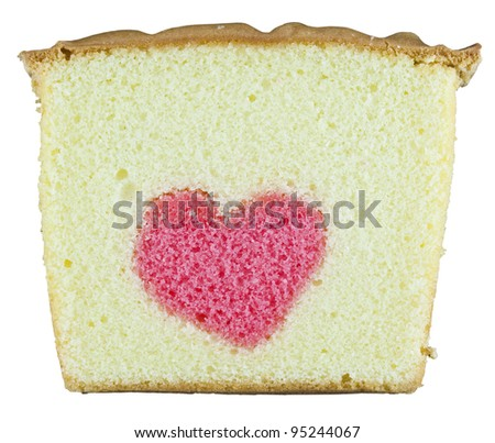isolated heart butter cake - stock photo