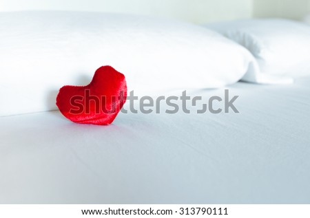 Isolated heart in a bed.  - stock photo