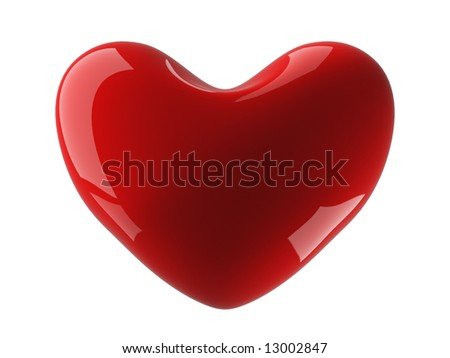 Isolated heart on a white background. 3D image. - stock photo