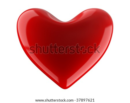 Isolated heart on white background. 3D image. - stock photo