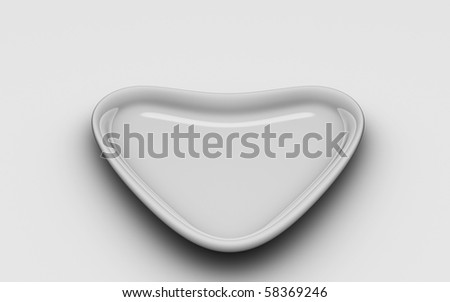 Isolated Heart Plate - stock photo