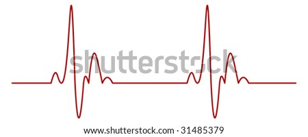 Isolated Heartbeat Graph - stock photo