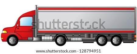 isolated heavy truck with space for text - stock photo