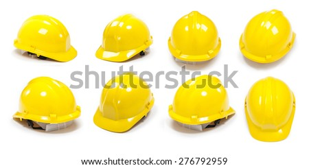 Isolated helmets with different angles on white background - stock photo