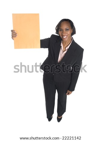 Isolated high angle, full length studio shot of a businesswoman holding up an envelope. - stock photo