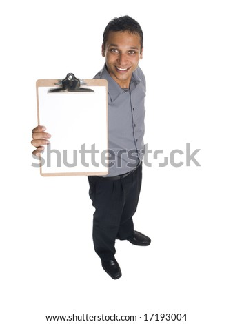 Isolated high angle studio shot of a businessman presenting a blank clipboard ready for your copy. - stock photo