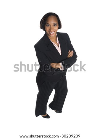 Isolated high angle studio shot of a happy businesswoman smiling at the camera. - stock photo