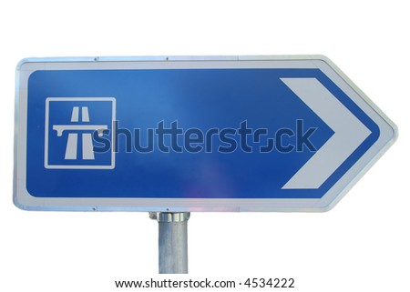 isolated highway sign - stock photo