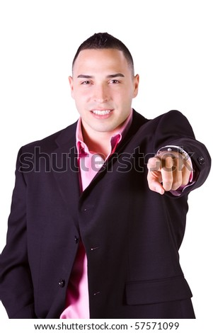 Isolated Hispanic Businessman Pointing Towards the Camera - stock photo