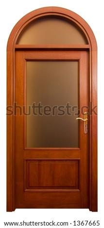Isolated Home Door with matt glass - stock photo
