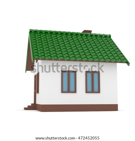 Isolated home with green roof on white. 3D rendering.