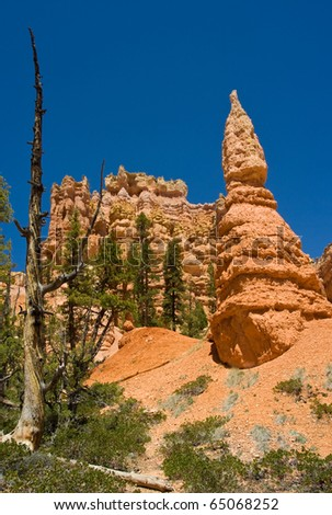 Isolated Hoodoos in the foreground in Bryce Canyon National Park in Utah - stock photo
