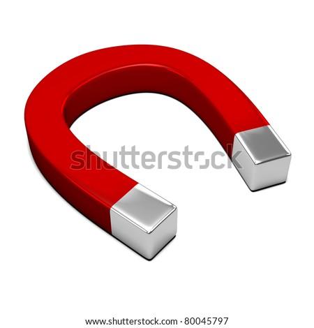 isolated horseshoe magnet - stock photo