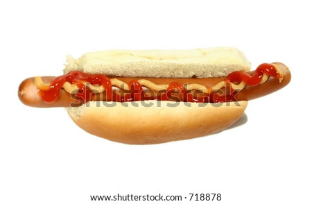 Isolated hot dog viewed from the top