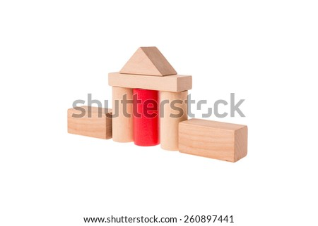 Isolated house build with different colored toy bricks - stock photo