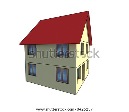 isolated house illustration on white background - 3D