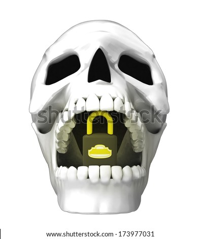 isolated human skull head with closed padlock in jaws illustration - stock photo