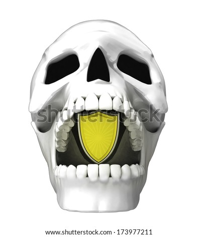 isolated human skull head with guard shield in jaws illustration