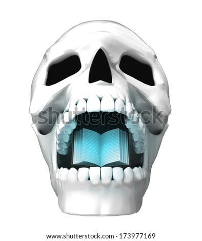 isolated human skull head with opened book in jaws illustration
