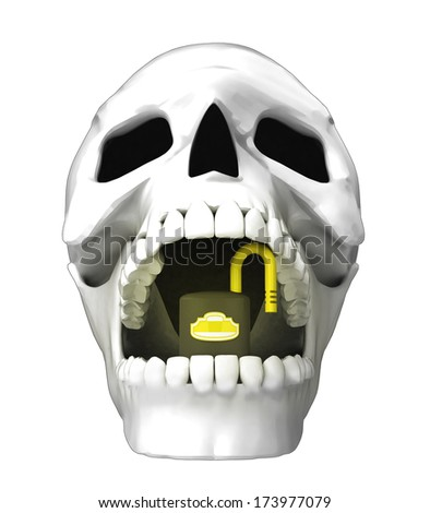 isolated human skull head with opened padlock in jaws illustration - stock photo